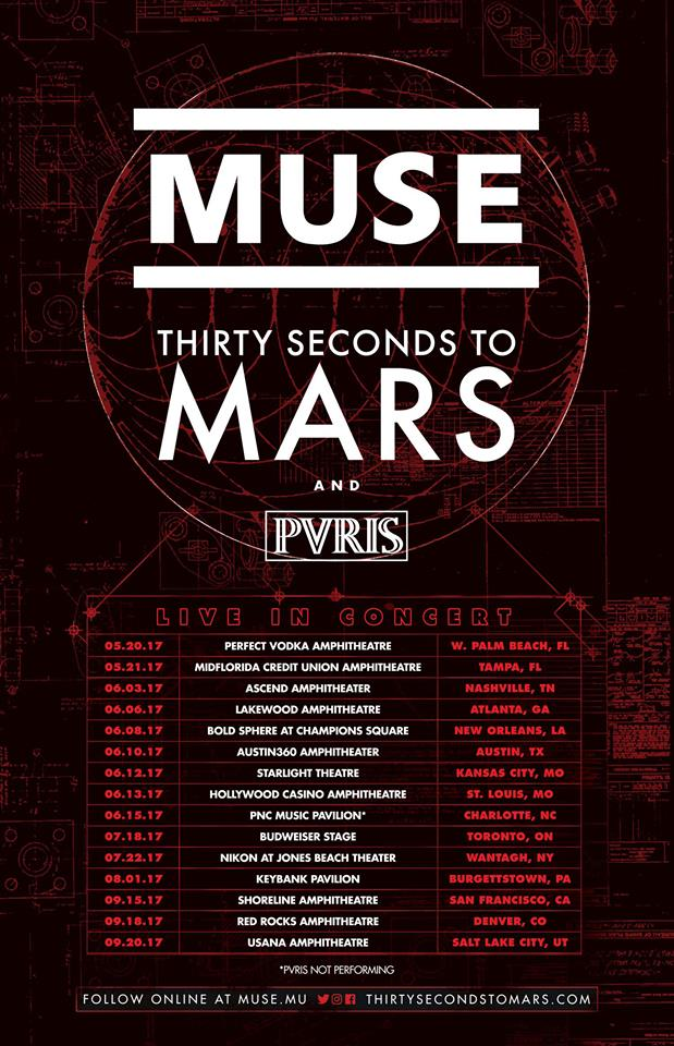 Muse, Thirty Seconds To Mars, PVRIS announce tour