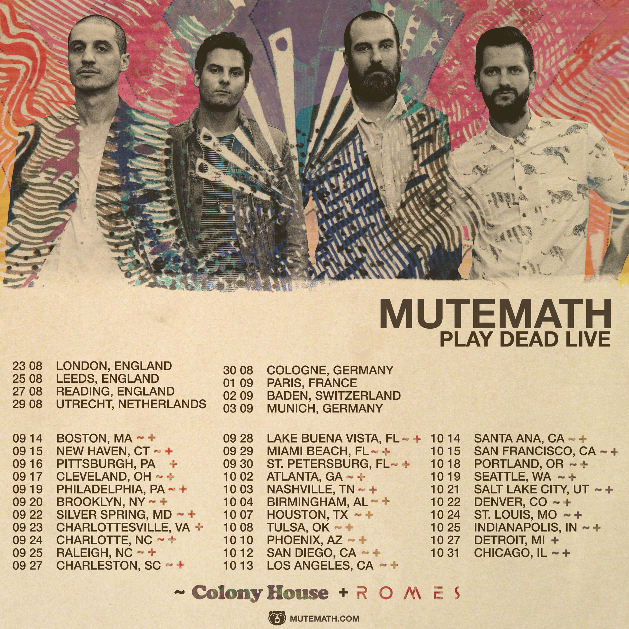 Fall Tour in support and they will be bringing Colony House and ROMES  along for the ride  You can check out the dates below and buy your tickets  here. Colony House  ROMES to tour with Mutemath   Stitched Sound